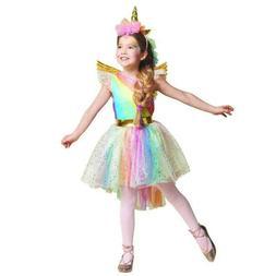Kids Girls Unicorn Rainbow Costume Tutu Fancy Dress Headband