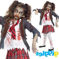 Girls Zombie School Girl Costume Uniform Scary Dead Hallowee