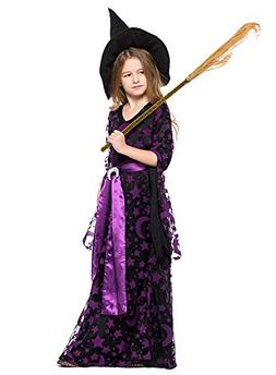 H&ZY Girls Halloween Purple Witch Cape Dress Costume Moon St