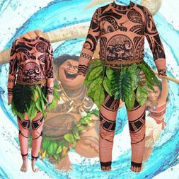 Halloween Adult Mens Kid Moana Maui Tattoo T Shirt Pants Cos