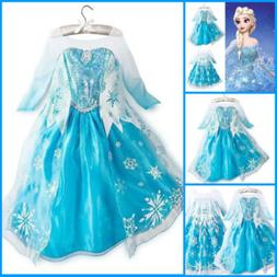 Halloween Elsa Kids Girls Anna Dress Princess Costume Cospla