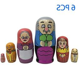Bitopbi 6pcs Handmade Animal Nesting Dolls Cute Lovely Matry