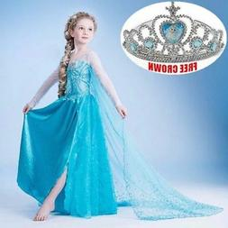 HOT Kids Girls Elsa Frozen Dress Costume Princess Anna Party