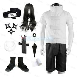 Hyuga Neiji Cosplay Costume Naruto Shoes Wigs Props Mens Kid