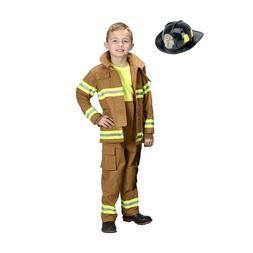 Jr. Fireman Fire Fighter Deluxe Tan Child Costume Suit w/ He