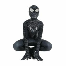 Kid Black Spiderman Cosplay Costume Halloween Birthday party