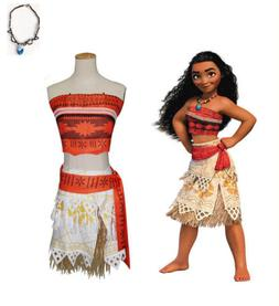 Kid Costume Disney Moana Princess Girl Cosplay Fancy Dress D