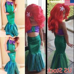 Kid Girl  Little Mermaid Set Princess Dress Party Cosplay Co