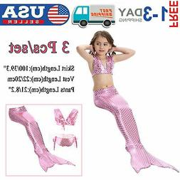 Kid Girl Mermaid Tail Bikini Set - Swimmable Tail Swimming S