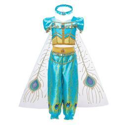 Kids Halloween Aladdin Costume Princess Jasmine Cosplay Outfit Girls Fancy Dress