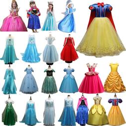 Kids Belle Elsa Anna Cosplay Costume Dress Girls Princess Fa