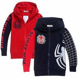 Kids Boys Spiderman Sweatshirt Hoodies Hoody Jacket Coat Top