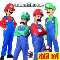Kids Boys Super Mario Luigi Brother Jumpsuit Cosplay Costume