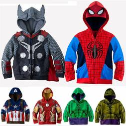 Kids Boys Hooded Hoodies Jacket Coat Long Sleeve Sweatshirt