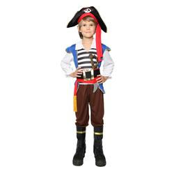 Boys Pirate Costume Caribbean Fancy Dress Outfit Kids Book W