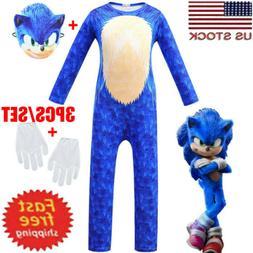 Kids Cosplay Sonic The Hedgehog Boy Jumpsuit+Mask+Gloves Cos