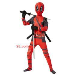 Kids Deadpool Costume Spandex Lycra Zentai Bodysuit Hallowee