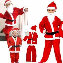 Kids Father Christmas Santa Claus Suit Costume Boys Child Gi