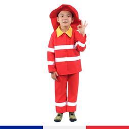 Kids Firefighter Costume Boys Halloween Cosplay School Event