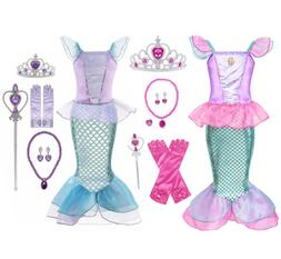 Kids Girl Little Mermaid Ariel Princess Cospaly  Dress Up Co