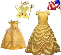 Kids Girl Princess Dress Beauty and the Beast Belle Cosplay