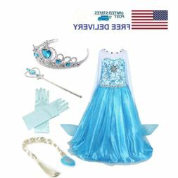 Kids Girls Elsa Frozen Dress + Accessories Gloves Wand Tiara