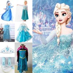 Kids Girls Frozen Anna Maxi Dress Princess Party Dresses Cos