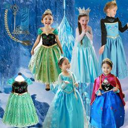 Kids Girls Princess Queen Elsa Anna Halloween Cosplay Costum