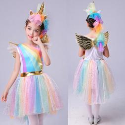 Kids Girls Unicorn Costume Fancy Dress Cosplay Christmas Out