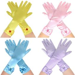 Kids Girls Long Satin Bowknot Gloves Princess Costume Party