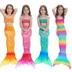 Kids Girls Mermaid Tail Bikini Swimsuit Costume swimwear 3 P