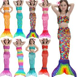 Kids Girls  Mermaid Swimsuit Tail Costume Summer  Swimmable