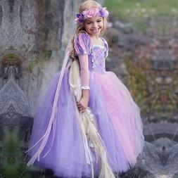 Kids Girls Rapunzel Princess Costume Tulle Party Cosplay Car