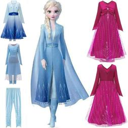 Kids Girls Queen Elsa Cosplay Costume Party Fancy Dress Pant