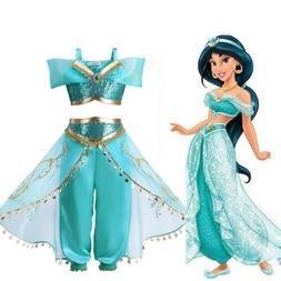 Kids Girls Sequin Aladdin Princess Jasmine Cosplay Costume P