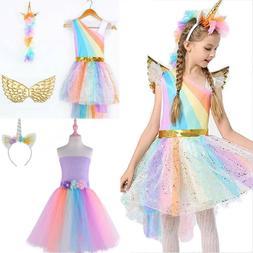 Kids Girls Unicorn Costume Fancy Dress Cosplay Halloween Out