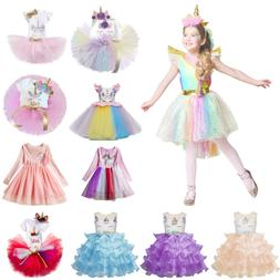 Kids Girls Unicorn Dress Tutu Floral Princess Cosplay Costum