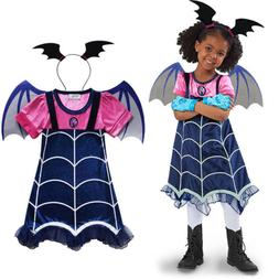 Kids Girls Vampirina Dress Wing Headwear Party Fancy Dresses