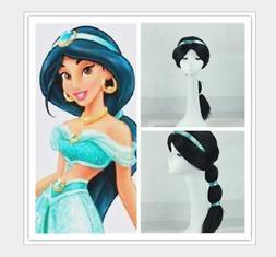 Kids Girls Jasmine Wig Princess Aladdin Fancy Dress Up Hallo