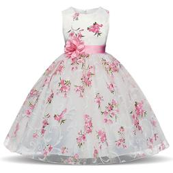 Kids Princess Baby Floral Party Prom Gown Pageant Wedding Fl