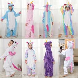 Kids Rainbow Unicorn Kigurumi Animal Cosplay Costume Onesie1