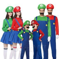 Kids Super Mario Luigi Bros Fancy Dress Costume Cosplay Mens