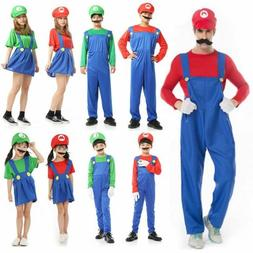 Kids Super Mario Luigi Bros Fancy Dress Costume Cosplay Mens