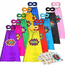 Kids Superhero Capes +Masks with Large Superhero Stickers Co