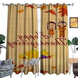 RenteriaDecor Kids Thanksgiving Room Darkening Wide Curtains