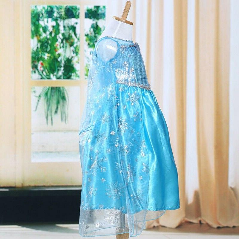 2019 New Blue Girls <font><b>costume</b></font> <font><b>Dress</b></font> Princess <font><b>Dress</b></font> <font><b>Up</b></font> party Gown 3-8Y