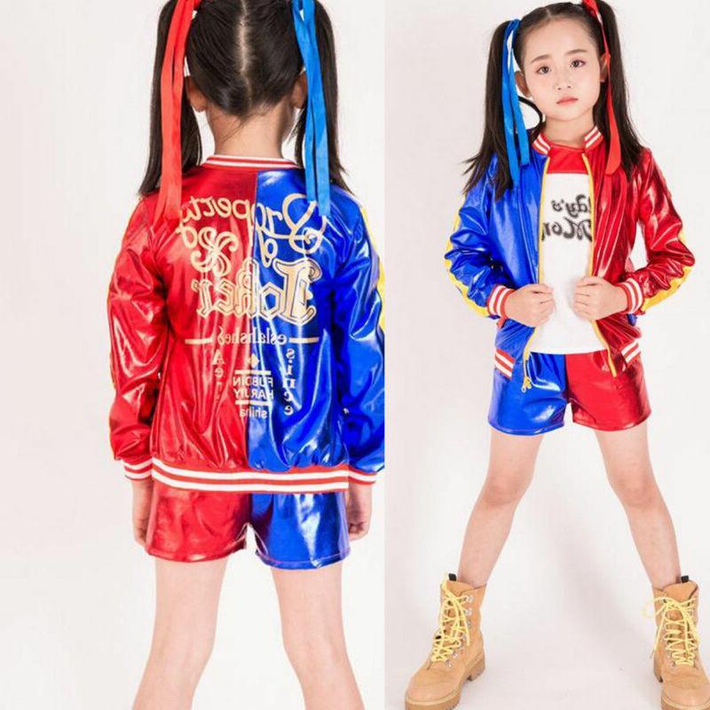 4PCS/Set Costume Set Squad Quinn Kids Cosplay Girls