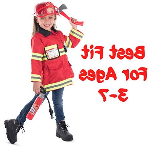 Born 8 Premium Washable Fireman Costume and Accessories with Real Shooting Great and Girls