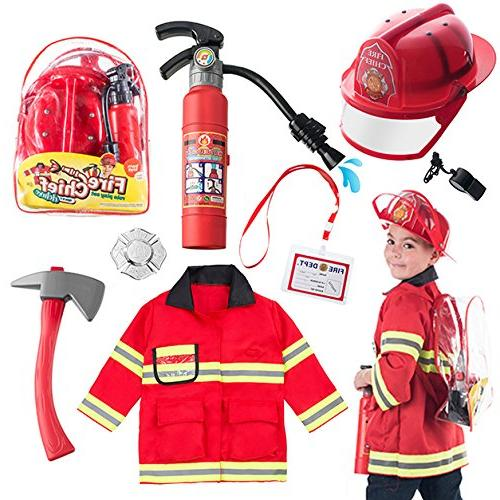 Born Toys 8 PC Premium Washable Fireman Costume and Firefigh