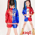 Kids Girls Suicide Squad Harley Quinn Coat Shorts Top Set Ha